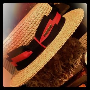 Black and White Colonel Stetson style , straw hat